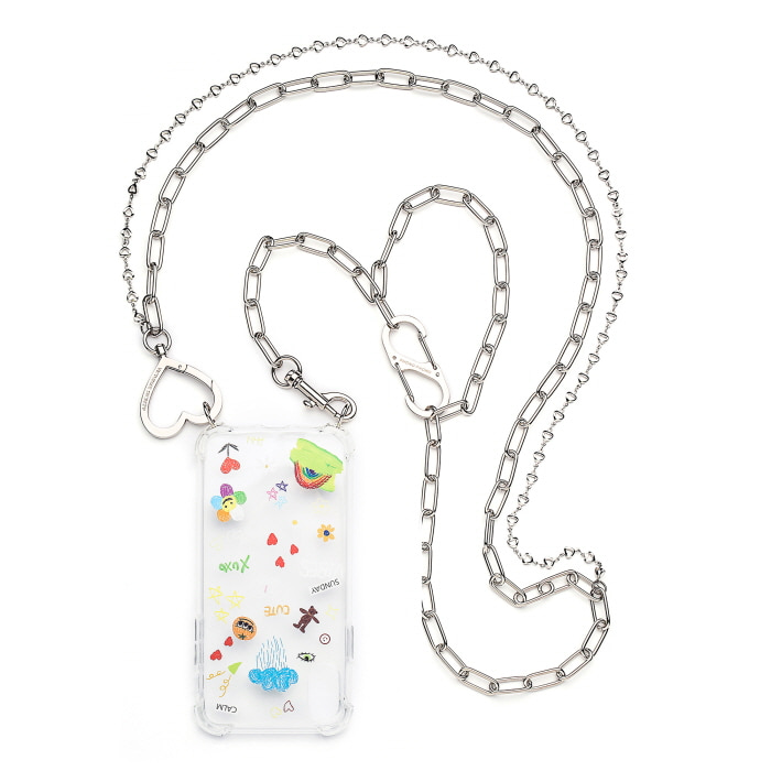 """LOVE HEART LAYERED CHAIN"" Cross(120cm)"